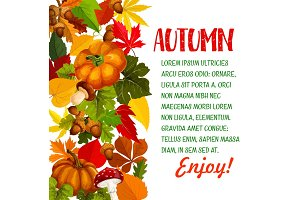 Autumn season poster with pumpkin and fall leaf