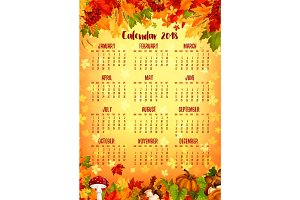 Autumn calendar template of fall nature season