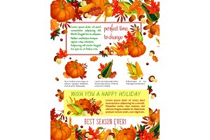 Autumn harvest celebration, Thanksgiving poster