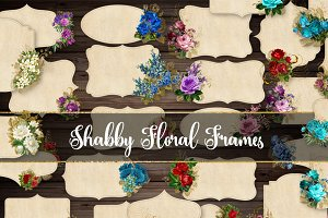 Shabby Floral Frames Clipart