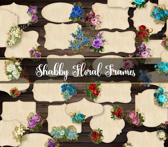 Shabby Floral Frames Clipart