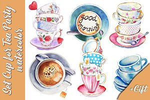 Set Cup for Tea Party Watercolor