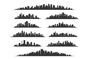 Urban cityscape silhouettes
