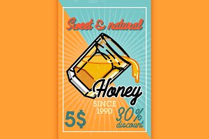 Color vintage honey banner