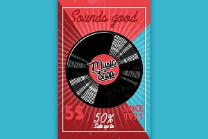 Color vintage music shop banner