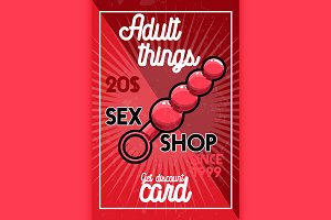 Color vintage sex shop banner.