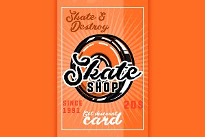 Color vintage skate shop banner