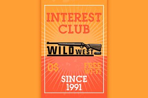 Color vintage wild west banner
