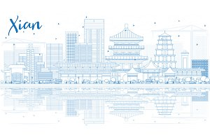 Outline Xian Skyline
