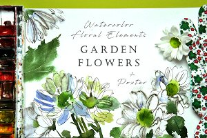 Garden Flowers - Watercolor elements