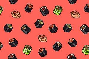 Sushi flat outline isomeric pattern