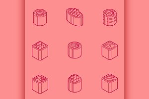 Sushi flat outline isomeric icons