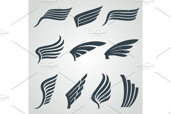 Eagle And Angel Wings Icons Flight Vector Heraldic Symbols Isolated
