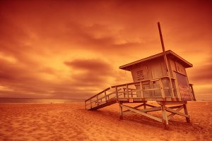Lifeguard tower.