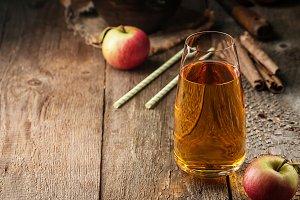 Glass of fresh apple juice