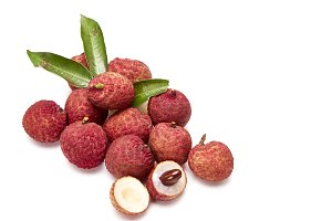 fresh fruit lychees on white background