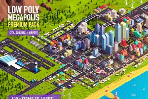 Low Poly Megapolis Premium Pack