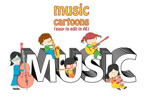 Set of music cartoons