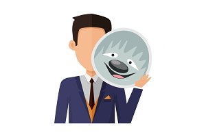 Man with Sloth Mask Flat Design Vector Illustration