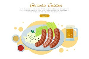 German Cuisine Flat Design Vector Web Banner