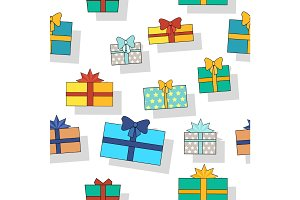 Seamless Pattern Gift Boxes.