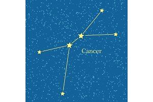 Cancer Zodiac Symbol on Background of Cosmic Sky.