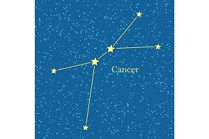Cancer Zodiac Symbol on Background of Cosmic Sky.