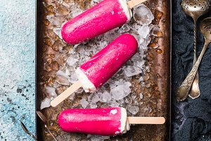 Top view pink cranberry popsicle