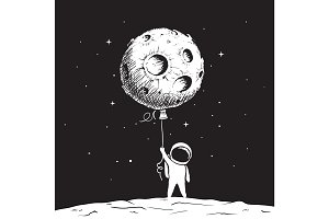 Cute astronaut keeps a moon