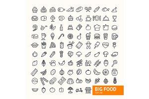 Big Food Black Thin Line Icon Set