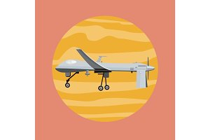 Flying Drone Vector Illustration in Flat Design