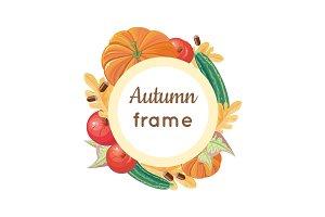 Autumn Frame Vector Concept in Flat Design