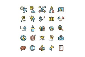 Management Business Line Icon Set