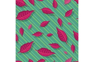 Red Leaves Seamless Pattern Vector Illustration