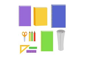 Set of Stationery Office Elements. Workplace Tools