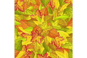 Seamless Pattern with Autumn Leaves. Autumnal Fall