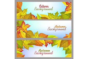 Set of Autumn Background Banners in Flat Design