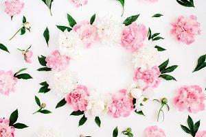 Peony flowers frame