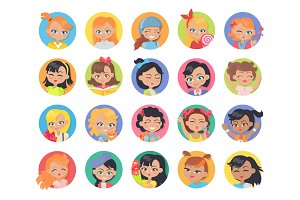 Set of Girl Avatar Userpics Buttons Isolated.