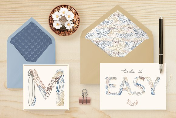 Feather Monograms in Illustrations - product preview 3