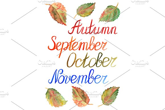 Autumn Leaves Month Calligraphy