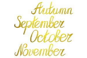 Autumn month golden word lettering