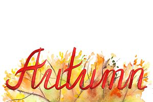 Autumn foliage month word lettering