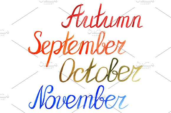 Autumn Month Word Lettering