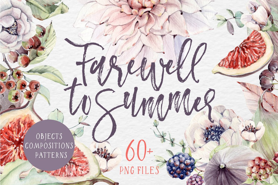 Farewell To Summer Watercolor Set Illustrations Creative Market