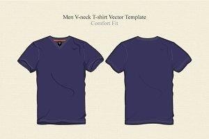 Men Basic V Neck T-shirt Vector