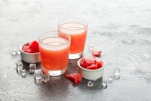 Two bottles of watermelon juice