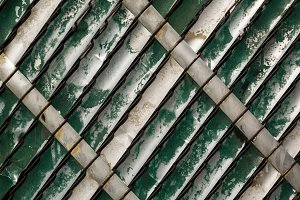 Weathered Green Slats in Chain Link