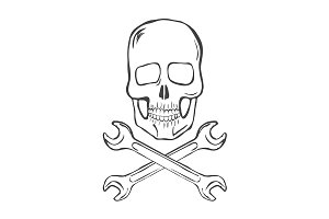Hand Draw Skull and crossed wrenches