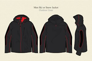 Men Ski or Snow Jacket Vector